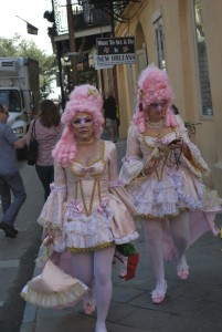 Mardi Gras Paraders in Pink