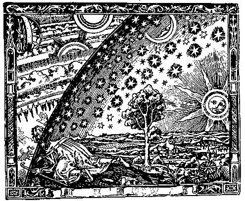 celestial woodcut print