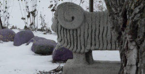 ram sculpture in winter