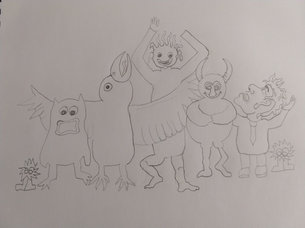 a preliminary sketch of happy monsters